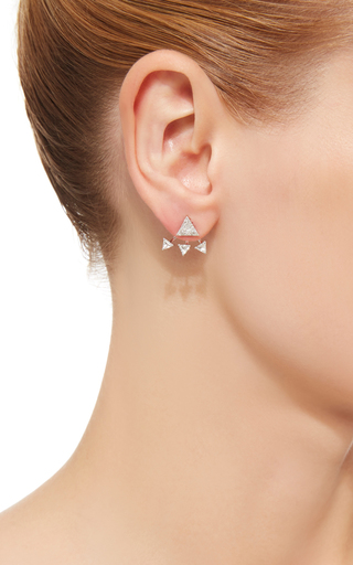 14 K White Gold Triangle Ear Jacket by EF COLLECTION Now Available on Moda Operandi