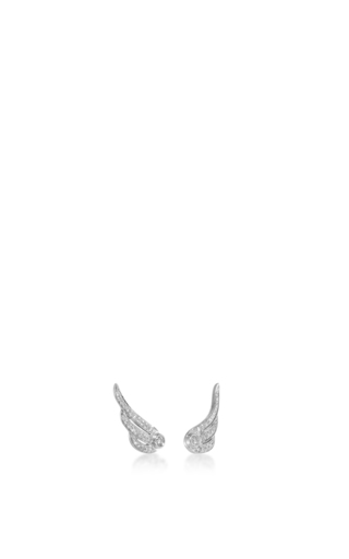 14 K White Gold Diamond Wing Stud Earrings by EF COLLECTION Now Available on Moda Operandi