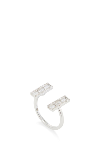 14 K White Gold Diamond Pen Baguette Ring by EF COLLECTION Now Available on Moda Operandi
