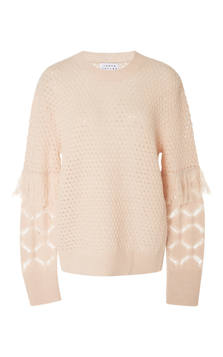 Medium tanya taylor light pink naomi fringe sweater