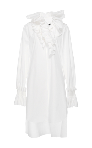 Medium nabil nayal white ruffle trim constance dress