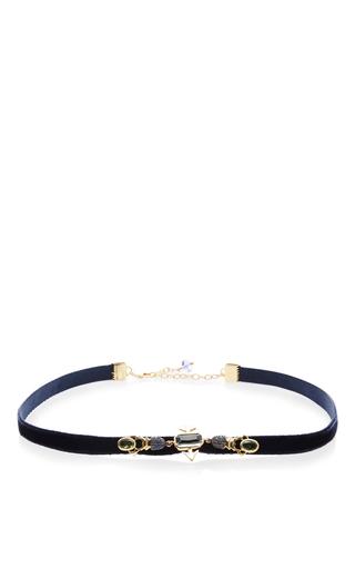 Medium daniela villegas navy 18k pink gold enamorados choker necklace