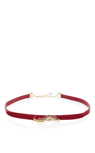 Medium daniela villegas burgundy 18k yellow gold centipede choker necklace