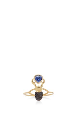 Medium daniela villegas blue 18k pink gold khepri ring