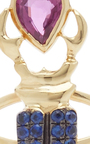 18 K Yellow Gold Blue Sapphire Khepri Ring by DANIELA VILLEGAS Now Available on Moda Operandi