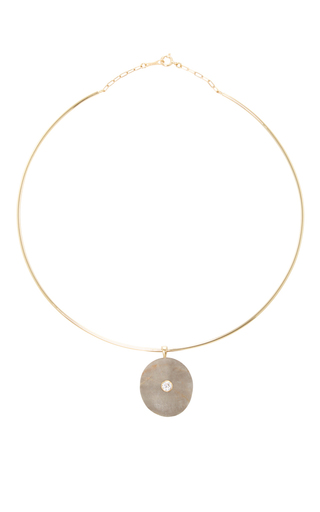 Medium cvc stones dark grey om choker necklace