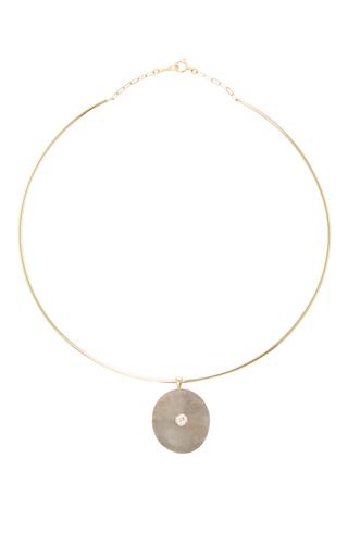 Medium cvc stones dark grey om choker necklace