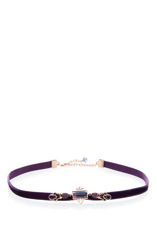 Medium daniela villegas purple 18k pink gold enamorados purple choker necklace