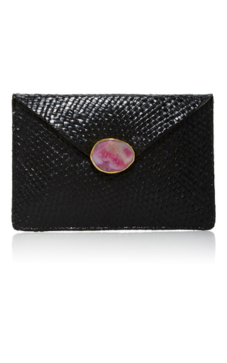 Medium kayu black capri clutch