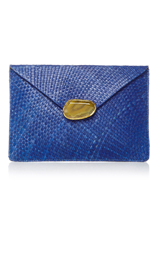 Medium kayu blue capri clutch 5