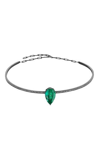 Medium jack vartanian green 18k white gold and black rhodium emerald choker