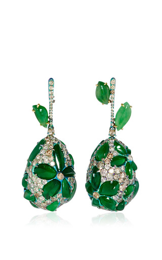 Medium arunashi green titanium imperial jade and diamond egg earrings