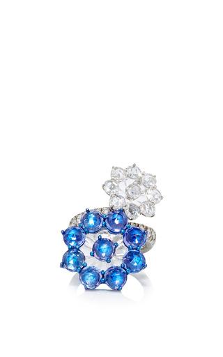 Medium arunashi silver 18k white gold tanzanite and diamond flower ring