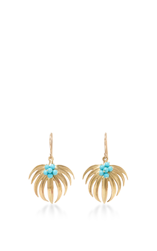 Medium annette ferdinandsen gold curled fan palm tree earrings