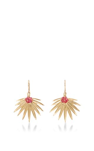 Medium annette ferdinandsen gold palm leaf earrings 2