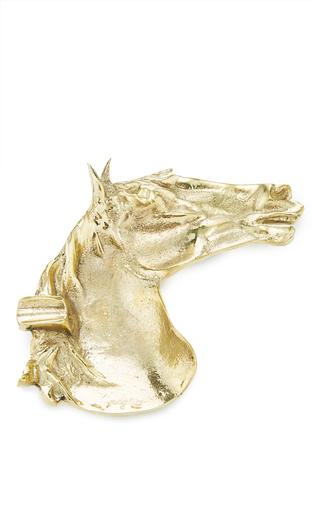 Medium poglia gold brass stallion ashtray