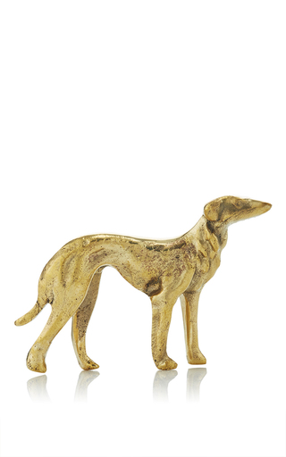 Medium poglia gold brass dog paperweight