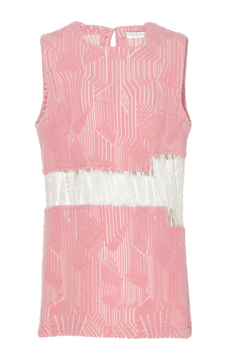 Medium madiyah al sharqi pink textured lace sleeveless dress