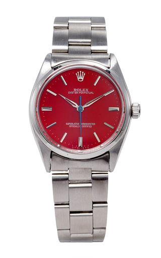 Medium truefacet silver stainless steel rolex oyster perpetual refurbished red dial 36mm watch model 5500