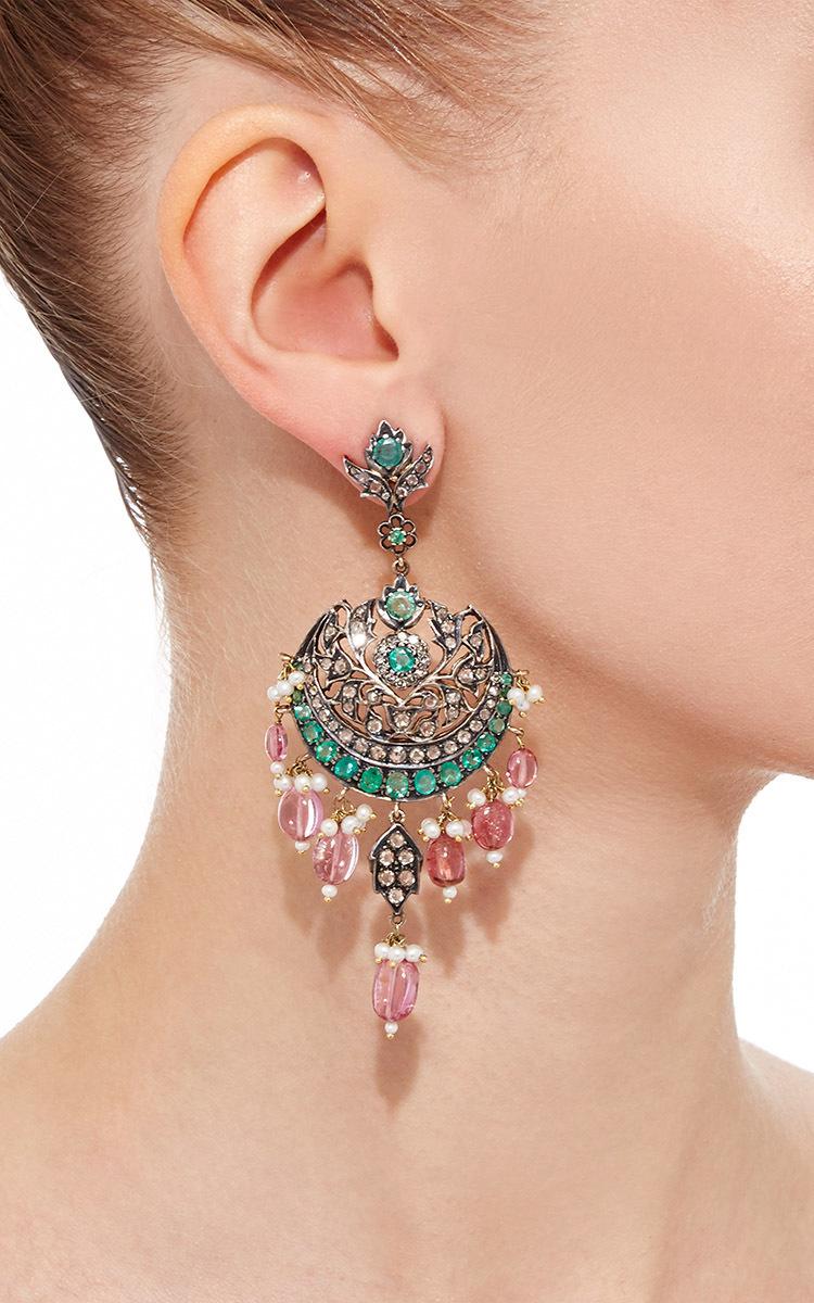 14k gold diamonds tourmaline pearl and emeralds chandelier pearl and emeralds chandelier earrings close loading aloadofball Image collections