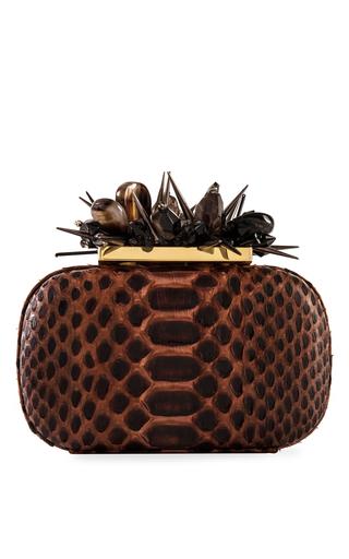 Medium madiso brown two toned brown snakeskin swarovski crystal jungle clutch 2