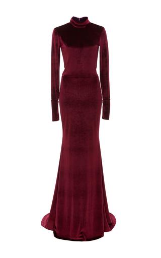 Medium caroline hayden burgundy fitted long sleeve gown
