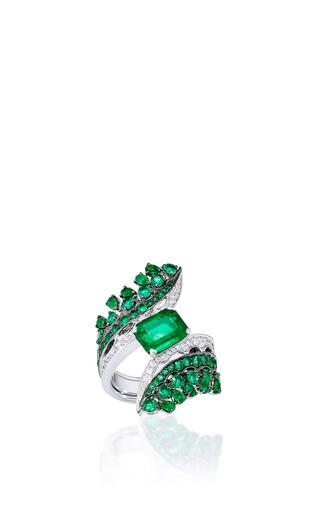 Medium vanleles green vanleles x gemfields octohedron emerald ring