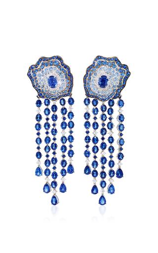 Medium vanleles blue enchanted garden diamond and blue sapphire earrings