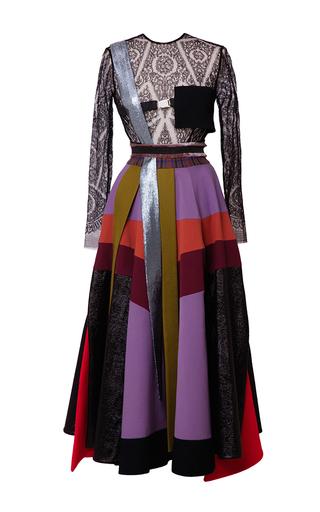 Medium hussein bazaza black metallic silk crepe colorblocked dress