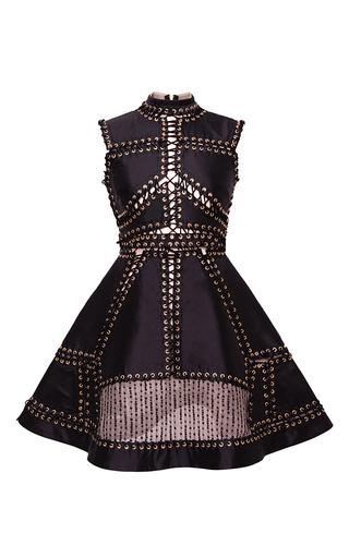 Medium hussein bazaza black perforated embellished a line short dress