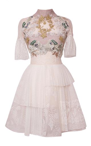 Medium hussein bazaza off white pleated lace short dress