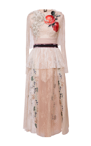 Medium hussein bazaza off white tiered pleated lace dress