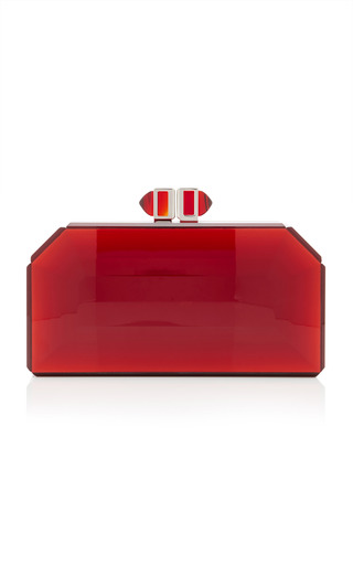 Medium judith leiber red faceted clutch