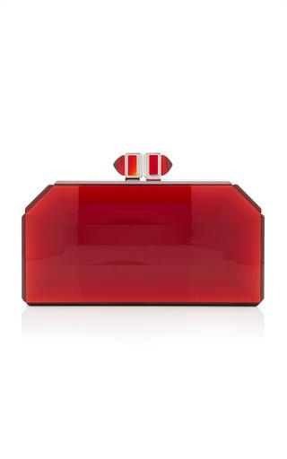 Medium judith leiber red faceted clutch