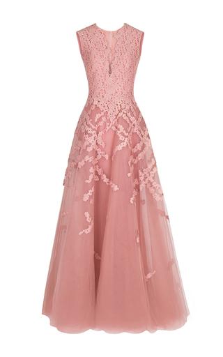 Medium rami al ali pink asymmetrical neckline embellished gown