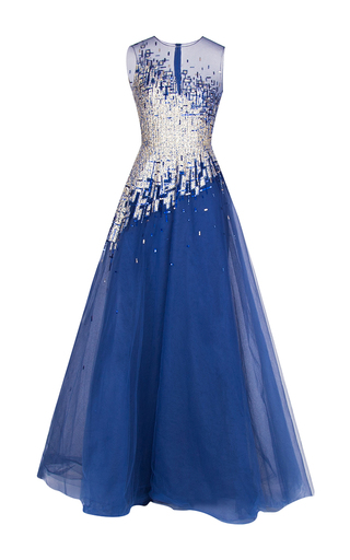Medium rami al ali blue embellished tweed lame evening gown