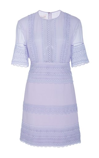 Medium giambattista valli purple three quarter length sleeve midi dress