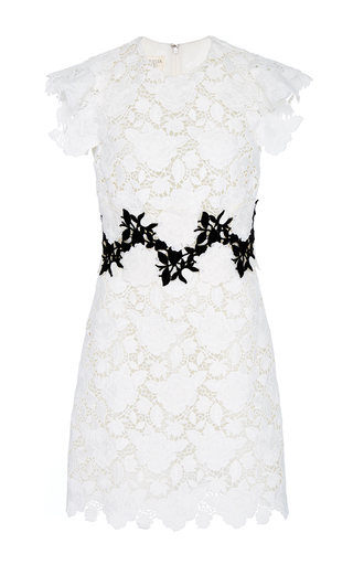 Medium giambattista valli white macrame all over rose mini dress