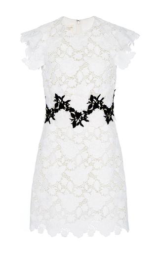 Medium giambattista valli white macrame all over rose mini dress