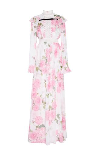 Medium giambattista valli floral georgette rose printed ruffled maxi dress