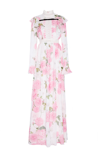 Medium giambattista valli floral georgette rose printed ruffled maxi dress