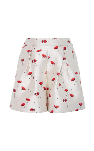 Medium giambattista valli red jacquard printed shorts