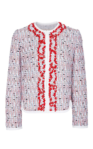 Medium giambattista valli red embellished tweed jacket