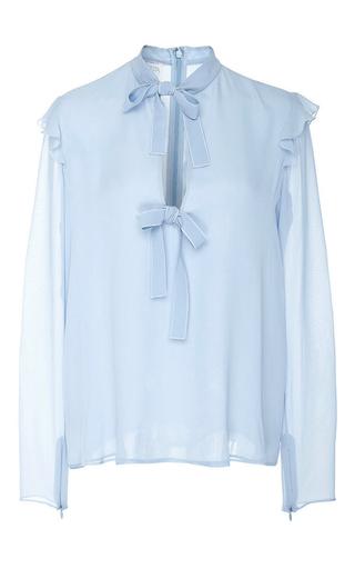Medium giambattista valli blue long sleeve tie up blouse 2