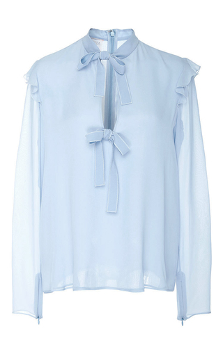 Medium giambattista valli blue long sleeve tie up blouse 2