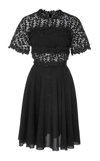Medium giambattista valli black laser cut floral mini dress