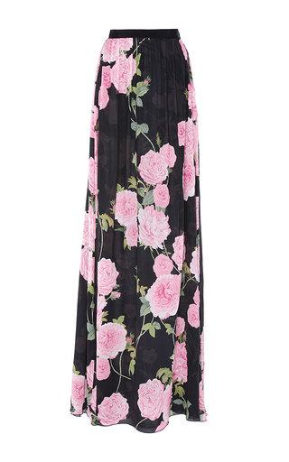 Medium giambattista valli black georgette floral maxi skirt 2