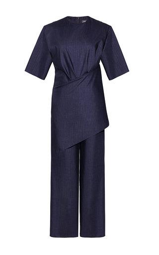 Medium litkovskaya navy draped jumpsuit