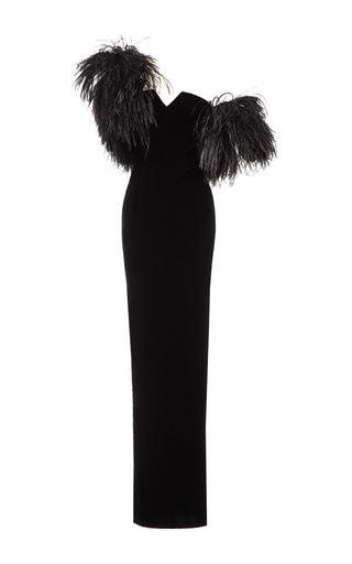 Medium djaba diassamidze black melita silk velvet feather embellished dress