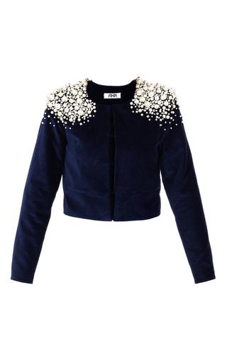 Medium aka nanita navy pearl embellished velvet jacket